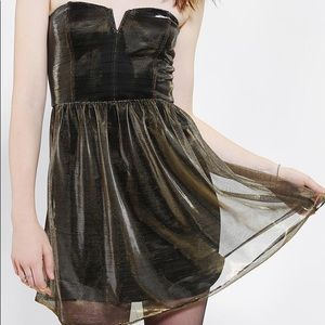 Urban outfitters strapless gold party dress